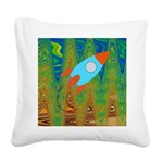 Abstract Rocket Ship Square Canvas Pillow