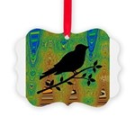 Bird Silhouette on Abstract Ornament