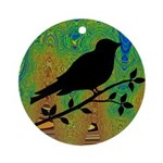 Bird Silhouette on Abstract Ornament (Round)