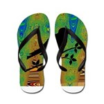Bird Silhouette on Abstract Flip Flops