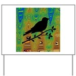 Bird Silhouette on Abstract Yard Sign