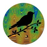Bird Silhouette on Abstract Round Car Magnet