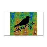 Bird Silhouette on Abstract Rectangle Car Magnet