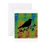 Bird Silhouette on Abstract Greeting Cards