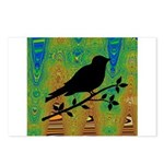 Bird Silhouette on Abstract Postcards (Package of