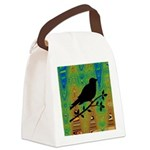 Bird Silhouette on Abstract Canvas Lunch Bag