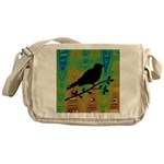 Bird Silhouette on Abstract Messenger Bag