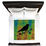 Bird Silhouette on Abstract King Duvet