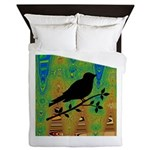 Bird Silhouette on Abstract Queen Duvet