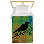Bird Silhouette on Abstract Twin Duvet