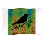 Bird Silhouette on Abstract Pillow Case