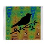 Bird Silhouette on Abstract Throw Blanket
