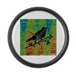 Bird Silhouette on Abstract Large Wall Clock