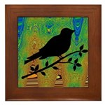 Bird Silhouette on Abstract Framed Tile