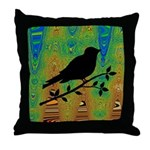 Bird Silhouette on Abstract Throw Pillow