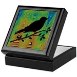 Bird Silhouette on Abstract Keepsake Box