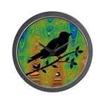 Bird Silhouette on Abstract Wall Clock
