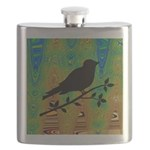 Bird Silhouette on Abstract Flask