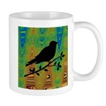 Bird Silhouette on Abstract Mugs