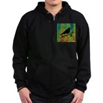 Bird Silhouette on Abstract Zip Hoodie