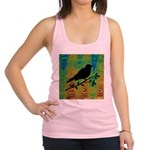 Bird Silhouette on Abstract Racerback Tank Top