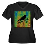 Bird Silhouette on Abstract Plus Size T-Shirt