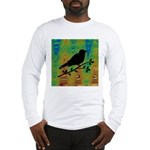 Bird Silhouette on Abstract Long Sleeve T-Shirt
