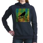 Bird Silhouette on Abstract Women's Hooded Sweatsh