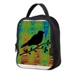 Bird Silhouette on Abstract Neoprene Lunch Bag