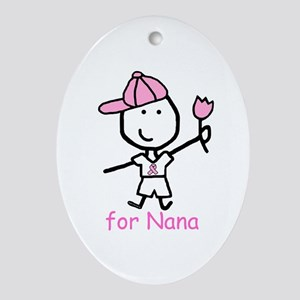 Pink Ribbon - Nana2 Oval Ornament