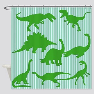 Dinosaurs Green Shower Curtain