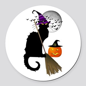 Le Chat Noir - Halloween Witch Round Car Magnet