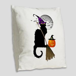 Le Chat Noir - Halloween Witch Burlap Throw Pillow