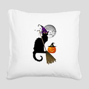 Le Chat Noir - Halloween Witc Square Canvas Pillow
