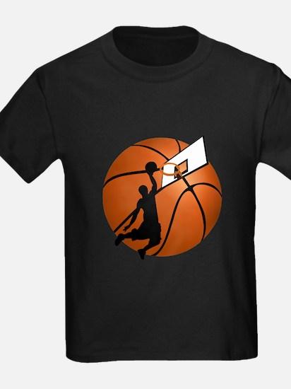 Slam Dunk Basketball Player w/Hoop on Ball T-Shirt