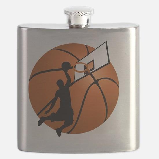 Slam Dunk Basketball Player w/Hoop on Ball  Flask