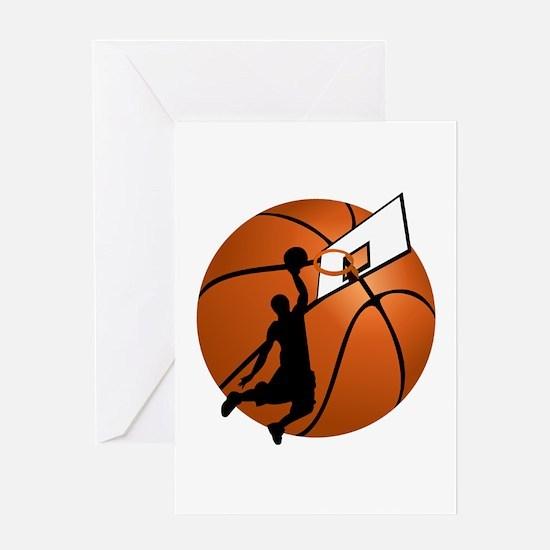 Slam Dunk Basketball Player w/Hoop Greeting Cards