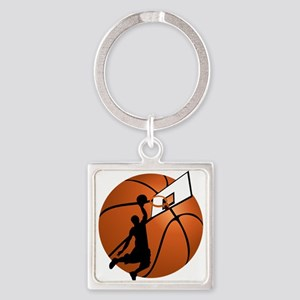 Slam Dunk Basketball Player w/Hoop on Ba Keychains