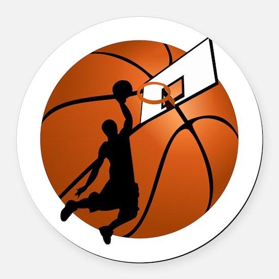 Slam Dunk Basketball Player w/Hoo Round Car Magnet
