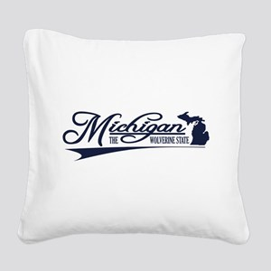 Michigan State of Mine Square Canvas Pillow