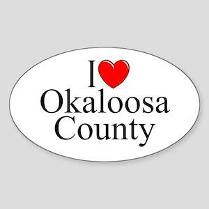 """I Love Okaloosa County"" Oval Sticker"