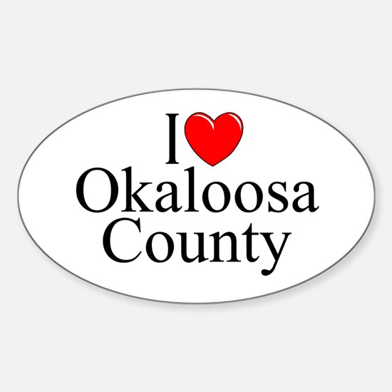 """I Love Okaloosa County"" Oval Decal"