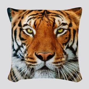 Tiger in Water Photograph Woven Throw Pillow