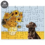 Sunflowers - Chocolate Lab 11 Puzzle