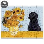 5.5x7.5-Sunflwrs-BlkLab4 Puzzle