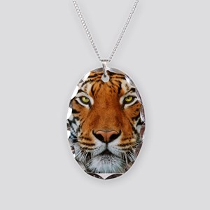Tiger in Water Photograph Necklace Oval Charm
