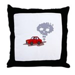 Skull from Car Smoke Throw Pillow