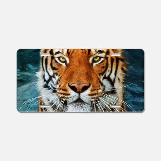 Tiger in Water Photograph Aluminum License Plate