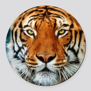Tiger in Water Photograph Round Car Magnet