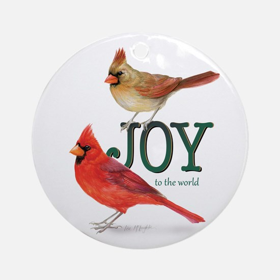 Holiday Cardinals Ornament (round)